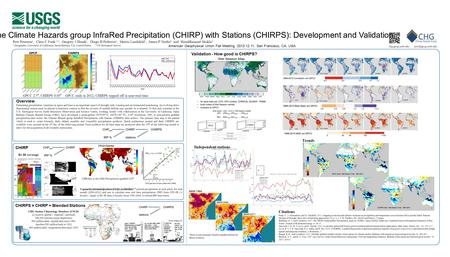 The Climate Hazards group InfraRed Precipitation (CHIRP) with Stations (CHIRPS): Development and Validation Overview Estimating precipitation variations.