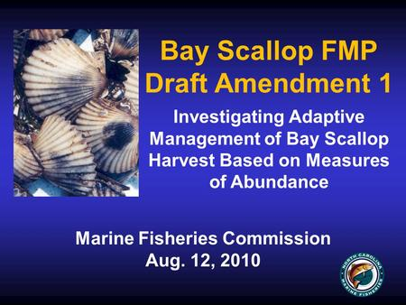 Bay Scallop FMP Draft Amendment 1 Marine Fisheries Commission Aug. 12, 2010 Investigating Adaptive Management of Bay Scallop Harvest Based on Measures.