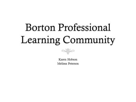 Borton Professional Learning Community Karen Hobson Melissa Peterson.