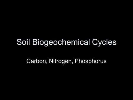Soil Biogeochemical Cycles Carbon, Nitrogen, Phosphorus.