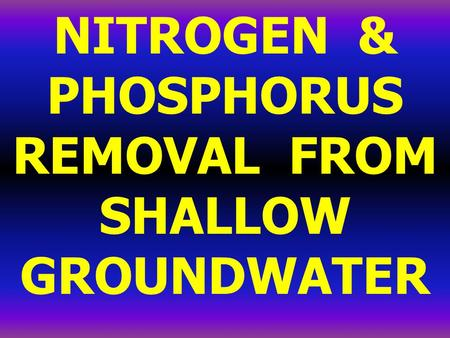 NITROGEN & PHOSPHORUS REMOVAL FROM SHALLOW GROUNDWATER.
