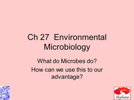 Ch 27 Environmental Microbiology