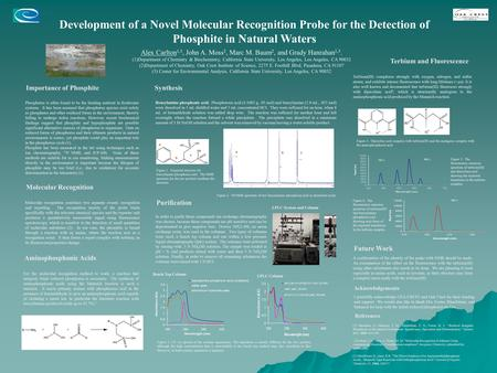 Development of a Novel Molecular Recognition Probe for the Detection of Phosphite in Natural Waters Alex Carlton 1,3, John A. Moss 2, Marc M. Baum 2, and.