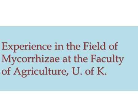 Experience in the Field of Mycorrhizae at the Faculty of Agriculture, U. of K.
