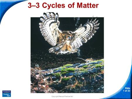 Slide 1 of 33 Copyright Pearson Prentice Hall 3–3 Cycles of Matter.