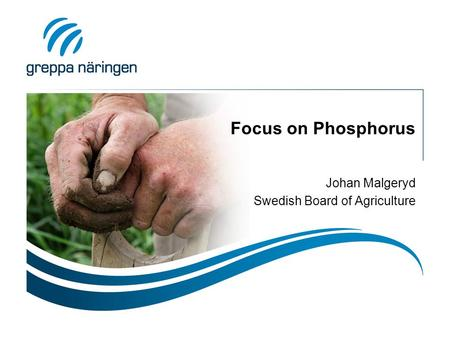 Focus on Phosphorus Johan Malgeryd Swedish Board of Agriculture.