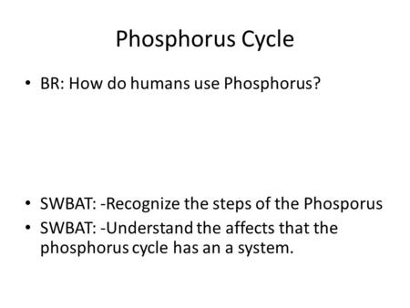 Phosphorus Cycle BR: How do humans use Phosphorus? SWBAT: -Recognize the steps of the Phosporus SWBAT: -Understand the affects that the phosphorus cycle.