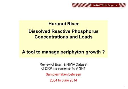 1 Hurunui River Dissolved Reactive Phosphorus Concentrations and Loads A tool to manage periphyton growth ? Review of Ecan & NIWA Dataset of DRP measurements.