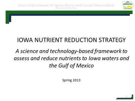 IOWA NUTRIENT REDUCTION STRATEGY A science and technology-based framework to assess and reduce nutrients to Iowa waters and the Gulf of Mexico Spring 2013.