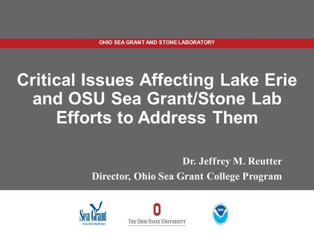 Critical Issues Affecting Lake Erie and OSU Sea Grant/Stone Lab Efforts to Address Them Dr. Jeffrey M. Reutter Director, Ohio Sea Grant College Program.