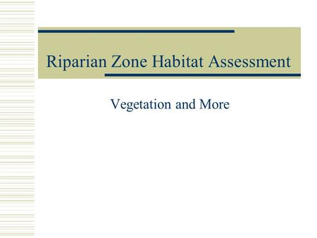 Riparian Zone Habitat Assessment Vegetation and More.