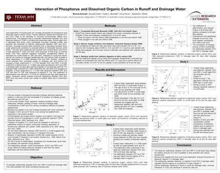 Interaction of Phosphorus and Dissolved Organic Carbon in Runoff and Drainage Water Ronnie Schnell 1, Donald Vietor 1, Clyde L. Munster 2, Tony Provin.