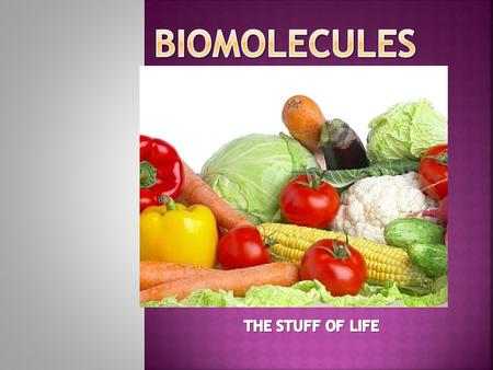 BioMOLECULES THE STUFF OF LIFE.