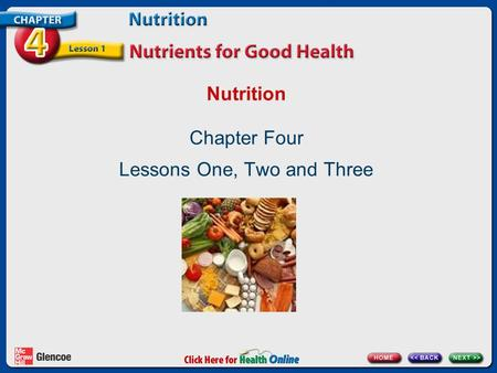 Nutrition Chapter Four Lessons One, Two and Three.