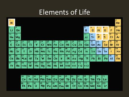Elements of Life. Table of Contents Carbon.……………………..pages 1-2 Hydrogen…….….………..pages 3-4 Oxygen………………………pages 5-6 Nitrogen……….…….…….pages 7-8 Phosphorus………...….pages.