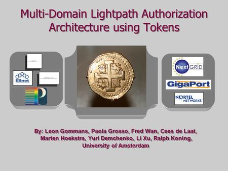 Multi-Domain Lightpath Authorization Architecture using Tokens By: Leon Gommans, Paola Grosso, Fred Wan, Cees de Laat, Marten Hoekstra, Yuri Demchenko,