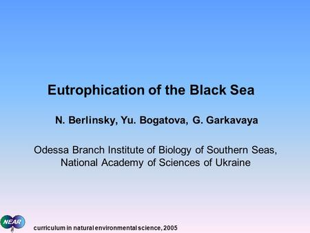 Eutrophication of the Black Sea