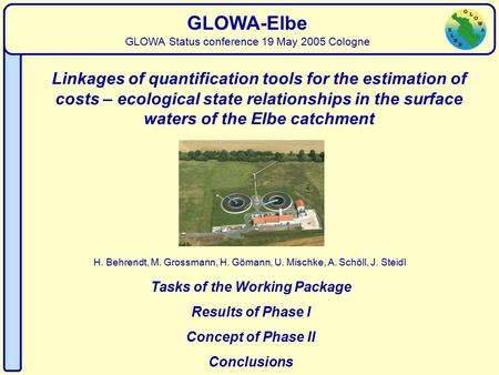 Water Quality H. Behrendt, M. Grossmann, H. Gömann, U. Mischke, A. Schöll, J. Steidl GLOWA-Elbe GLOWA Status conference 19 May 2005 Cologne Linkages of.