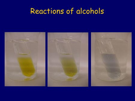 Reactions of alcohols.