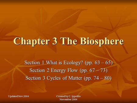 Updated Nov 2004 Created by C. Ippolito November 2004 Chapter 3 The Biosphere Section 1 What is Ecology? (pp. 63 – 65) Section 2 Energy Flow (pp. 67 –