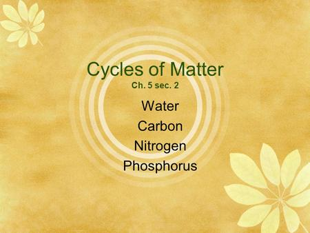 Cycles of Matter Ch. 5 sec. 2 Water Carbon Nitrogen Phosphorus.