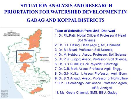 Team of Scientists from UAS, Dharwad