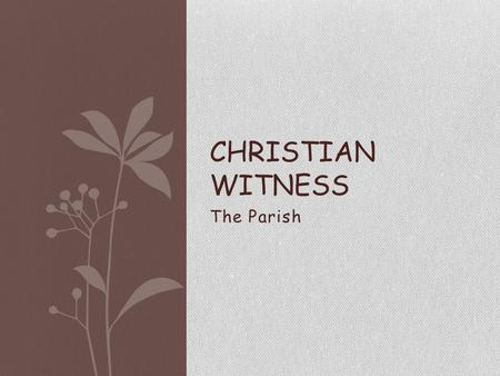 The Parish CHRISTIAN WITNESS. The Parish What is a parish? Who makes up a parish?