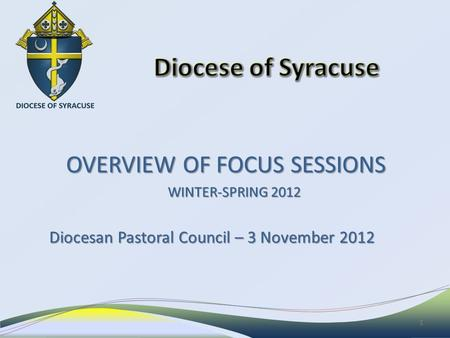 OVERVIEW OF FOCUS SESSIONS OVERVIEW OF FOCUS SESSIONS WINTER-SPRING 2012 Diocesan Pastoral Council – 3 November 2012 1.