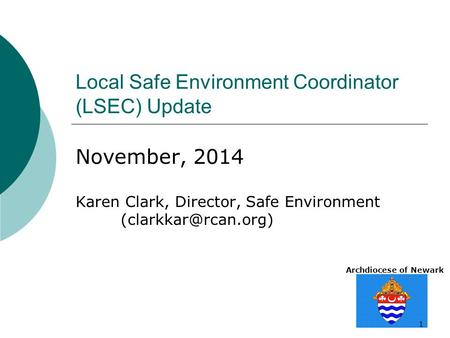 Archdiocese of Newark 1 Local Safe Environment Coordinator (LSEC) Update November, 2014 Karen Clark, Director, Safe Environment