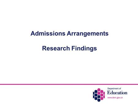 Admissions Arrangements Research Findings. Introduction Post-Primary Review Working Group recommended that the Department should commission demographic.