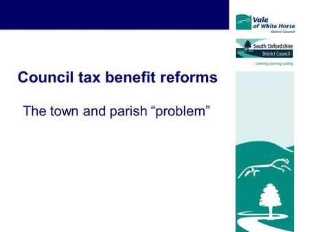 "Council tax benefit reforms The town and parish ""problem"""