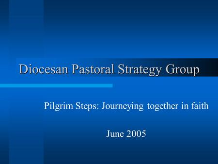 Diocesan Pastoral Strategy Group Pilgrim Steps: Journeying together in faith June 2005.