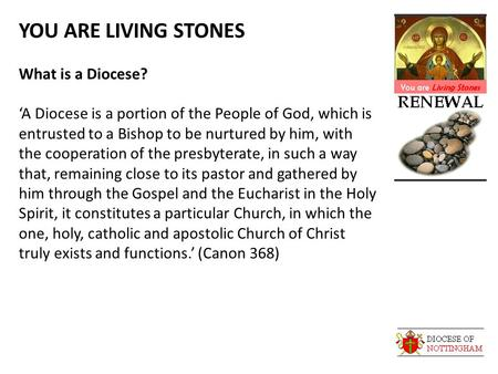 YOU ARE LIVING STONES What is a Diocese? 'A Diocese is a portion of the People of God, which is entrusted to a Bishop to be nurtured by him, with the cooperation.