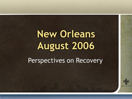 New Orleans August 2006 Perspectives on Recovery.