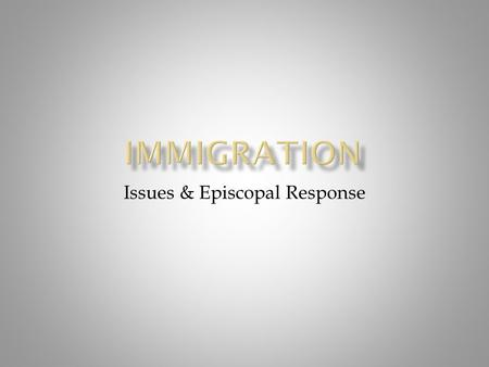 Issues & Episcopal Response.  Who are they?  Temporary Visa  Permanent Resident Visa  Naturalized Citizen See – www.uscis.gov (U.S. Citizenship &