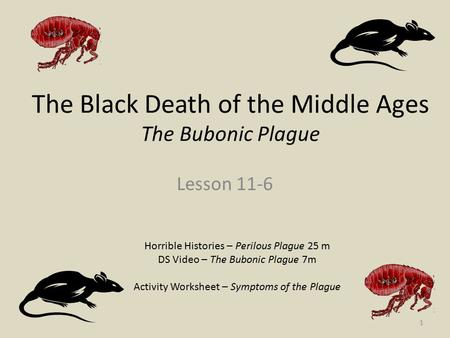 The Black Death of the Middle Ages The Bubonic Plague Lesson 11-6 Horrible Histories – Perilous Plague 25 m DS Video – The Bubonic Plague 7m Activity Worksheet.