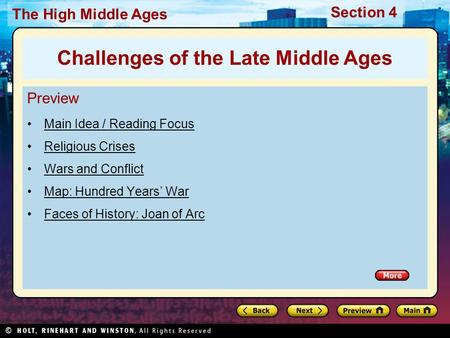Challenges of the Late Middle Ages