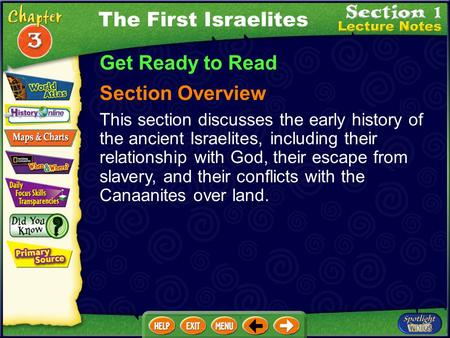 Get Ready to Read Section Overview This section discusses the early history of the ancient Israelites, including their relationship with God, their escape.
