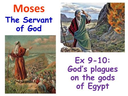 Moses The Servant of God Ex 9-10: God's plagues on the gods of Egypt.