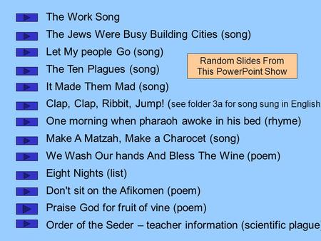 The Work Song The Jews Were Busy Building Cities (song) Let My people Go (song) The Ten Plagues (song) It Made Them Mad (song) Clap, Clap, Ribbit, Jump!