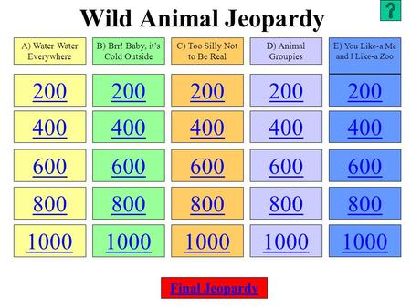 Wild Animal Jeopardy 200 400 600 800 1000 200 400 600 800 1000 200 400 600 800 1000 200 400 600 800 1000 200 400 600 800 1000 A) Water Water Everywhere.
