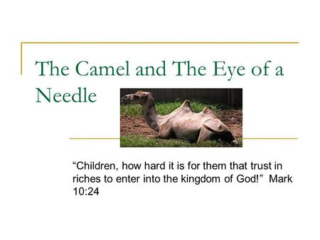 "The Camel and The Eye of a Needle ""Children, how hard it is for them that trust in riches to enter into the kingdom of God!"" Mark 10:24."