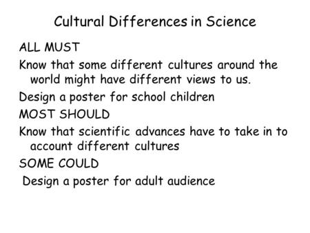 Cultural Differences in Science ALL MUST Know that some different cultures around the world might have different views to us. Design a poster for school.