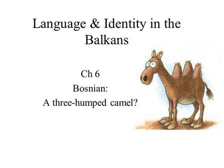 Language & Identity in the Balkans Ch 6 Bosnian: A three-humped camel?