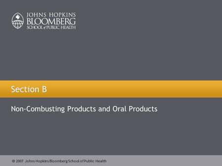  2007 Johns Hopkins Bloomberg School of Public Health Section B Non-Combusting Products and Oral Products.