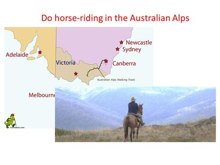Do horse-riding in the Australian Alps. Do snorkelling with whale sharks.