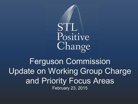 Ferguson Commission Update on Working Group Charge and Priority Focus Areas February 23, 2015.