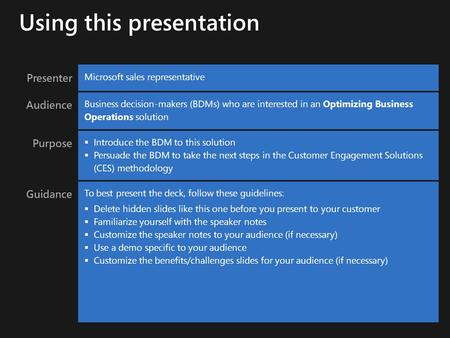 Presenter Microsoft sales representative Audience Business decision-makers (BDMs) who are interested in an Optimizing Business Operations solution Purpose.