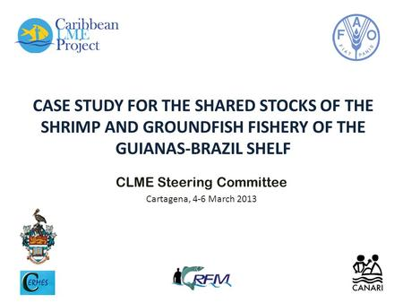 CASE STUDY FOR THE SHARED STOCKS OF THE SHRIMP AND GROUNDFISH FISHERY OF THE GUIANAS-BRAZIL SHELF CLME Steering Committee Cartagena, 4-6 March 2013.