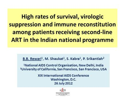 High rates of survival, virologic suppression and immune reconstitution among patients receiving second-line ART in the Indian national programme B.B.